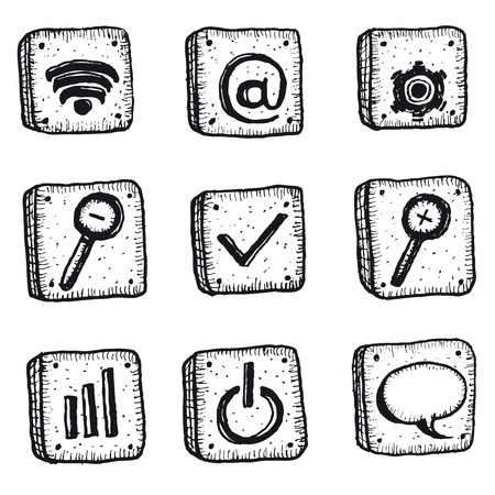 connexion: Illustration of a set of doodle hand drawn web, connexion and business icons elements, including email, internet, magnifying glass and options