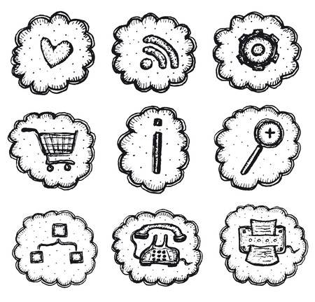 Illustration of a set of doodle hand drawn web and shopping icons elements Vector