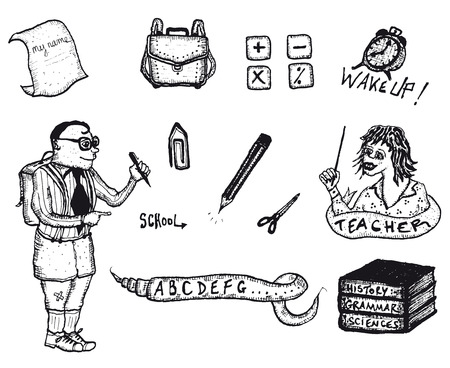 Illustration of a set of doodle hand drawn education, re-entry and back to school icons and symbols set Vector