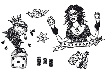 Illustration of a set of doodle hand drawn gambling icons and symbols set