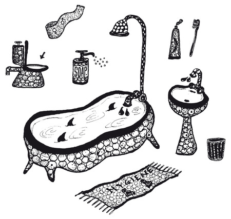 toilet paper art: Illustration of a set of doodle hand drawn hygiene and bathroom objects and icons elements Set Illustration