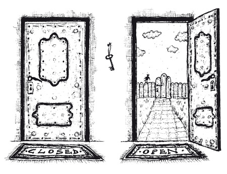 Illustration of a doodle hand drawn front door opened on a spring urban backyard and closed, symbolizing private and public frontier, paradise or heavens gate, with mat to wipe foot