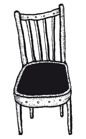 Illustration of a doodle sketched simple isolated sitting chair Ilustração