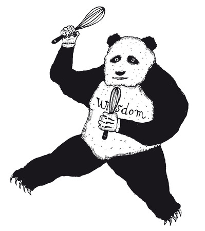 Illustration of a doodle hand drawn funny black and white panda character holding kitchen whisks