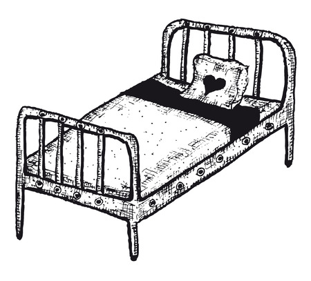 Illustration of a doodle hand drawn isolated sleeping bed Vector