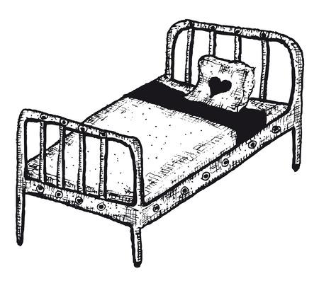Illustration of a doodle hand drawn isolated sleeping bed Ilustração