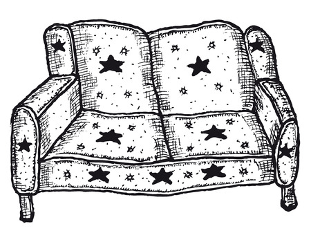 Illustration of a doodle hand drawn sketched isolated sofa on white background Illustration