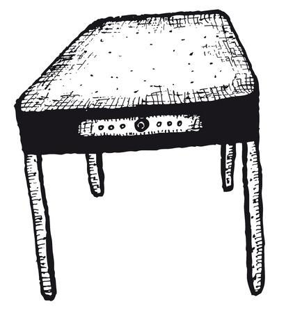 Illustration of a doodle hand drawn sketched home kitchen isolated table Ilustração