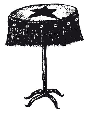 Illustration of a set of doodle hand drawn isolated pedestal table Ilustração