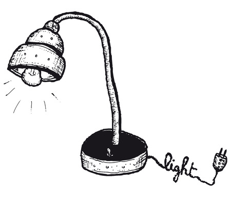 Illustration of a doodle hand drawn isolated electric lamp