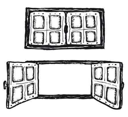 Illustration of a set of doodle open and closed hand drawn house window set Ilustração