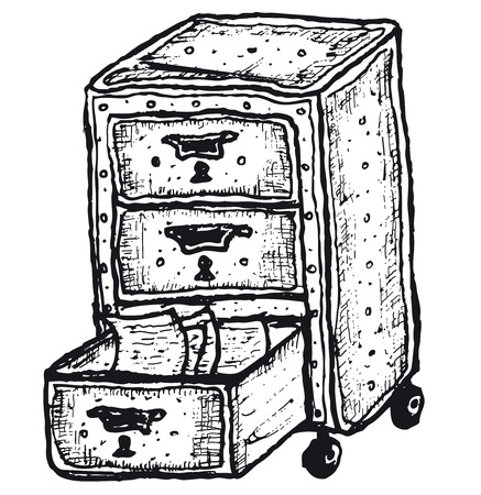 Illustration of a doodle hand drawn isolated furniture with drawers
