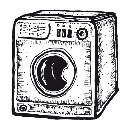 domestic task: Illustration of a set of doodle hand drawn isolated washing machine