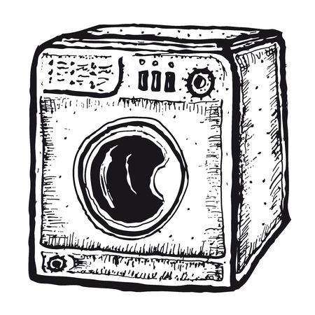 Illustration of a set of doodle hand drawn isolated washing machine