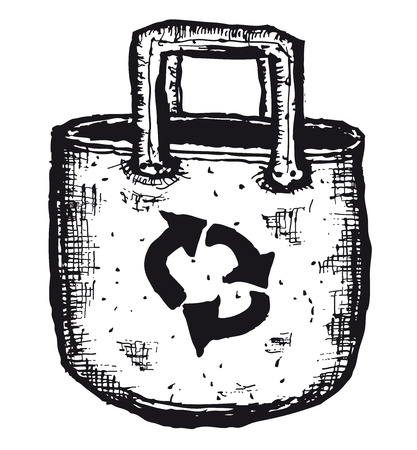 Illustration of a doodle hand drawn isolated bag with eco symbol for ecology and environment safety Ilustração