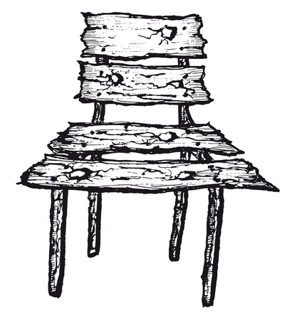 Illustration of a doodle isolated old hand drawn wooden chair