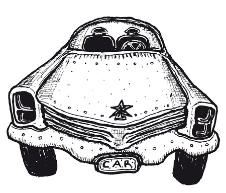 Illustration of a doodle hand drawn isolated car Ilustração