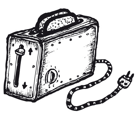 Illustration of a doodle hand drawn isolated toaster for bread