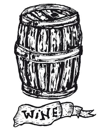 Illustration of a doodle hand drawn wooden barrel with wine banner Ilustração