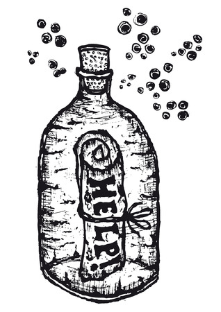 Illustration of hand drawn help message on paper in a glass bottle