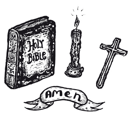 Illustration of a set of doodle hand drawn religious set
