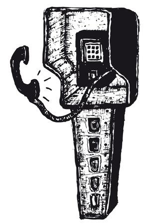 Illustration of hand drawn isolated phone box Ilustração
