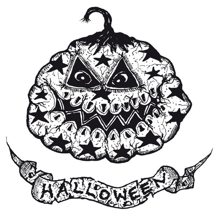 Illustration of a funny scary gothic hand drawn jack o lantern pumpkin and Halloween banner