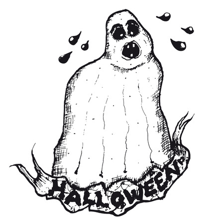 Illustration of hand drawn isolated ghost with Halloween banner Ilustração
