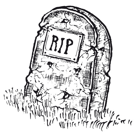 Illustration of hand drawn isolated tombstone with rip inscription Vector