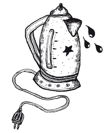 Illustration of hand drawn isolated electric kettle Vector