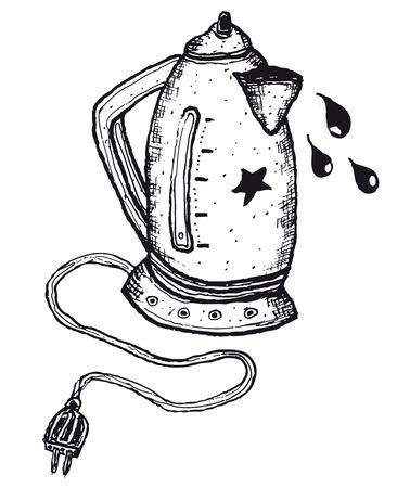 Illustration of hand drawn isolated electric kettle Ilustração