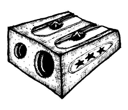 Illustration of hand drawn sharpener for wood pencils Ilustração