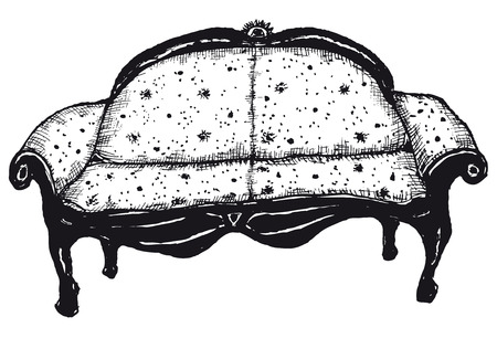 lay down: Illustration of hand drawn isolated bench seat