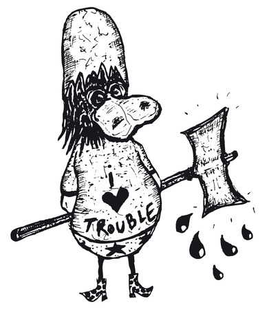 Illustration of hand drawn isolated bad duck cartoon