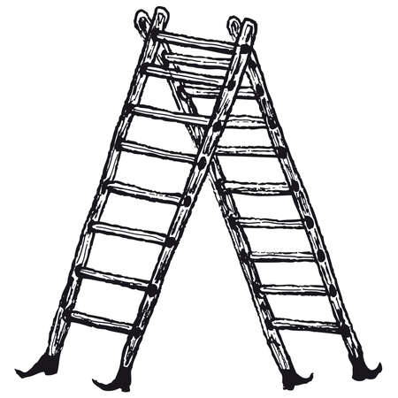 Illustration of hand drawn isolated stepladder