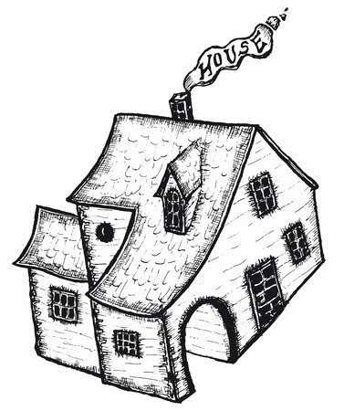 Illustration of hand drawn cartoon isolated black and white house