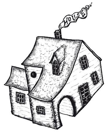 hand drawn cartoon: Ilustraci�n de dibujos animados aislados dibujado mano de la casa blanco y negro