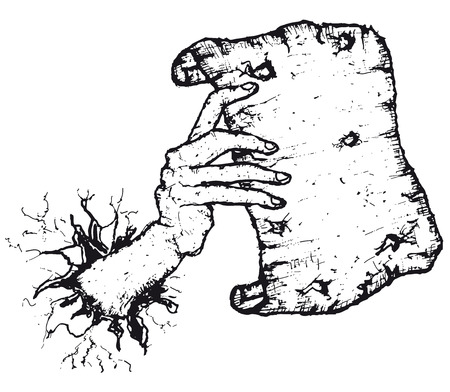 Illustration of doodle sketched hand going through a wall holding an old blank paper