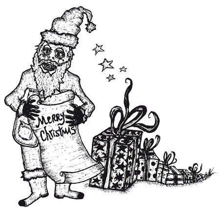 Illustration of hand drawn Santa Claus, Merry Christmas wishes and gifts