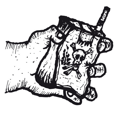 Illustration of hand drawn hand holding a packet of cigarettes with death logo