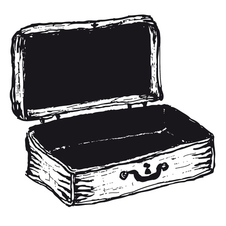 Illustration of hand drawn open empty suitcase