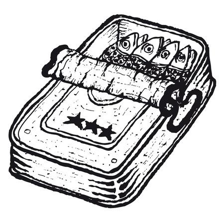 손 그림은 열려있는 통조림 정어리 고립 그려