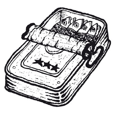 can opener: Illustration of hand drawn isolated open tinned sardines