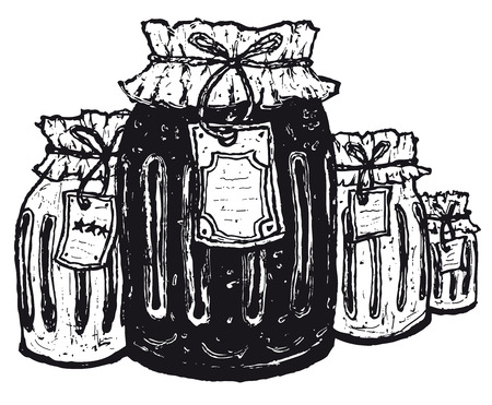 Illustration of hand drawn set of old jars with paper label