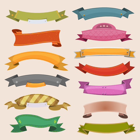 Illustration of a set of various cartoon colored banners, origami, ribbons, swirls and scrolls to use as ornaments Illustration