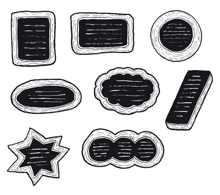 Illustration of a set of hand drawn signboards and restaurant menu panels
