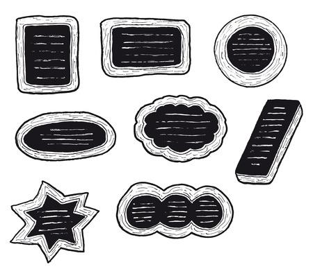 letreros: Ilustraci�n de un conjunto de letreros dibujados a mano y los paneles de men� del restaurante Vectores