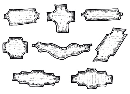 Illustration of a hand drawn set of blank banners and labels