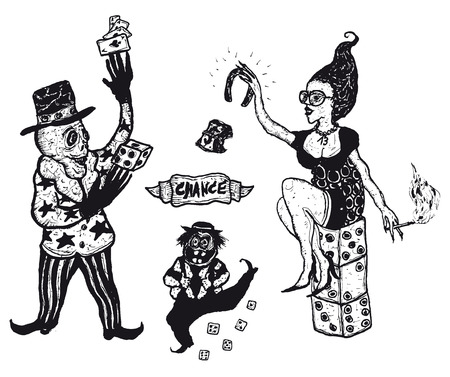 Illustration of a set of hand drawn gambling and addiction design elements Ilustração