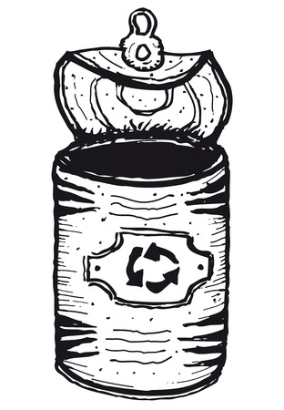 Illustration of a hand drawn isolated open can with recyclable logo label